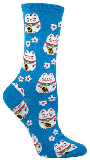 "These maneki-neko (Japanese for ""beckoning cat"") socks are a symbol of luck in Japanese culture, and are guaranteed to bring equal parts cuteness and luckiness. In either black or blue variations, the"
