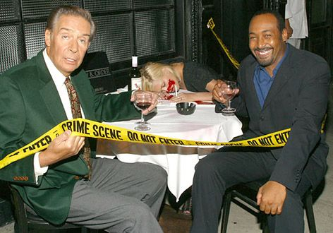 Jerry Orbach and Jesse L. Martin on the set of Law and Order.
