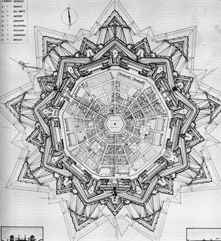 Plan of Palmanova Italy, 1851 The town is an excellent example of star fort of the Late Renaissance, built up by the Venetians in 1593.