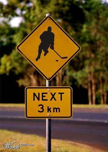 hockey game street sign