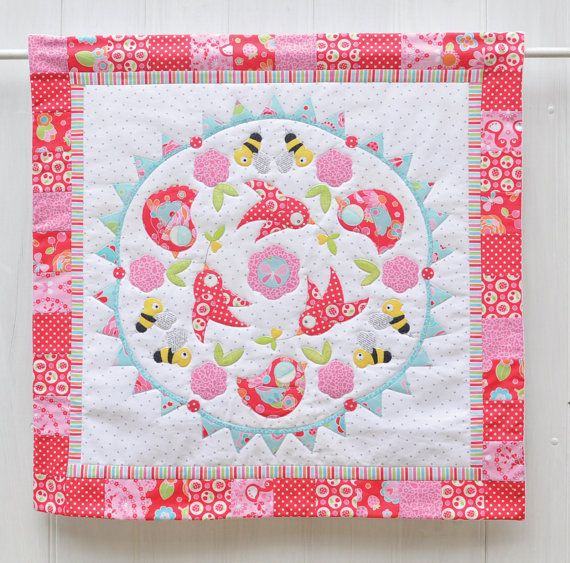 Birds and the Bees applique mini quilt by claireturpindesign