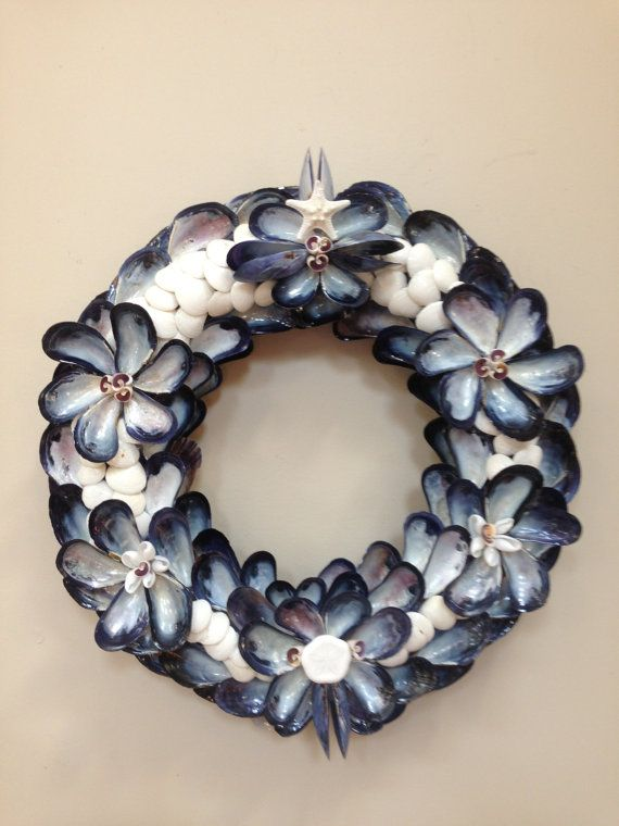 Fancy blue mussel shell and white clam by BluePeriwinkleShells, $85.00