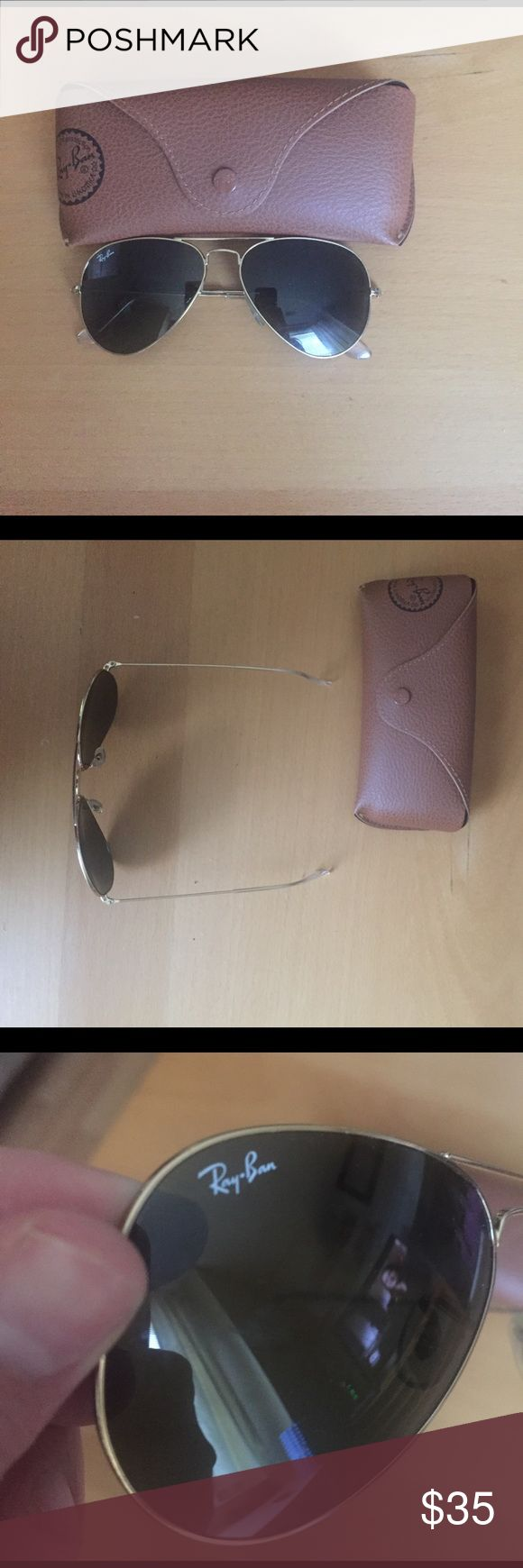 Ray ban aviators Ray ban aviators. Frames fit small. Worn often but great condition Ray-Ban Accessories Glasses
