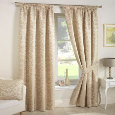 Curtains and table on right Curtina Crompton Natural Lined Pencil Pleat Curtains- at Debenhams.com