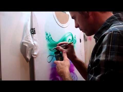 A Quick Airbrush Lettering Tip & How To Heat Press A Finished Shirt.MP4
