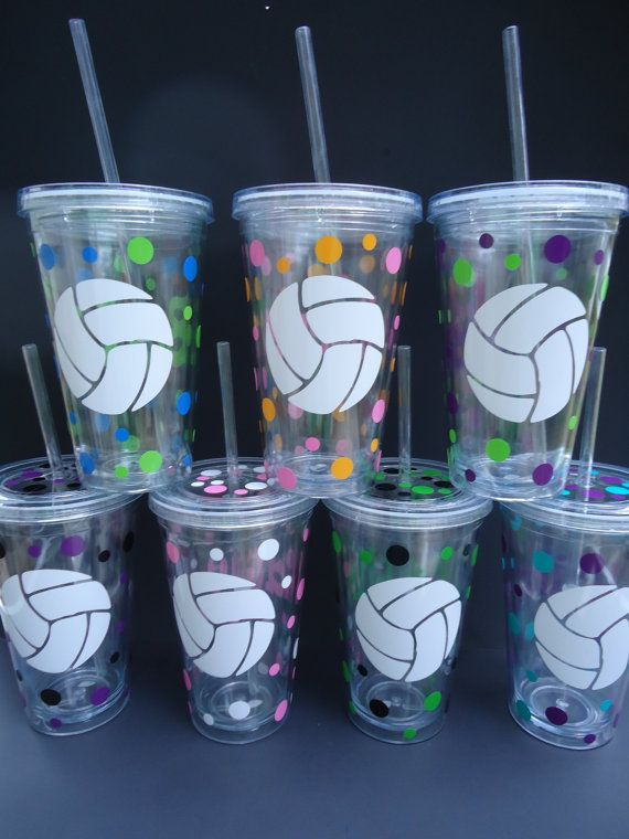Volleyball team personalized acrylic tumblers, any sports team or club, school colors - set of 10
