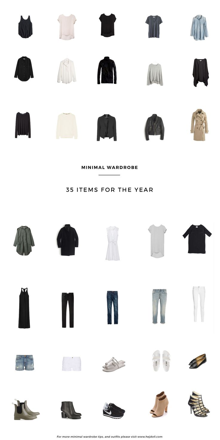 A minimal wardrobe consisting of 35 items for the whole year. Excludes swimwear, activewear, and accessories.