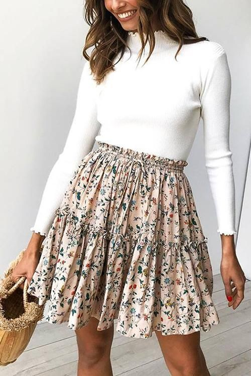 Ruffles Print Knot Mini Skirt