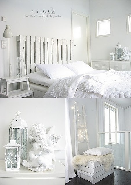 Lovely White Headboard made from pallet