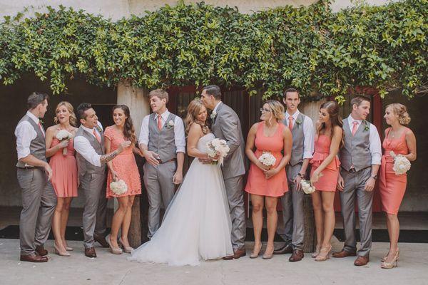 Fun wedding party look. Love the groomsmen in grey!