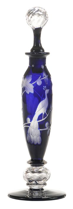 Perfume Bottle; Libbey Glass, Peacock, Footed, Engraved Cobalt to Clear, Swirled Stopper, 9 inch. Year: 1920 - 1929