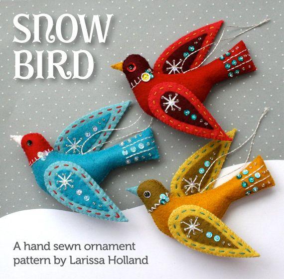 Snow Bird PDF pattern, a hand sewn wool felt ornament