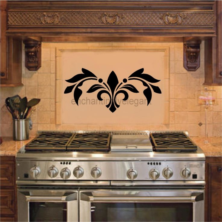 Vinyl Embellishment Above Stove Under Vent Hood