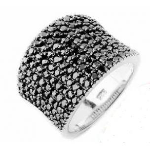 anillo plata con circonitas negras de lineargent/Anillo plata www.relojesplatayacero.com