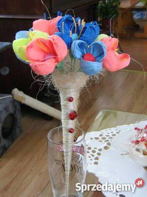 Kwiaty z bibuły krepy krepiny ozdoba domu