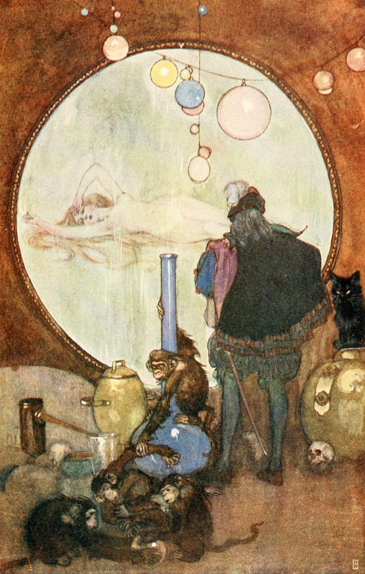 Fresh Faust and the Magic Mirror From Goethe us ucFaust ud illustrated by Willy Pog ny