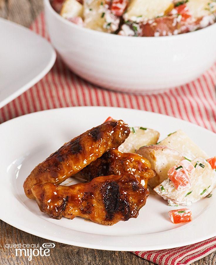 Ailes de poulet barbecue grillées lentement et salade de pommes de terre cuite en papillote #recette