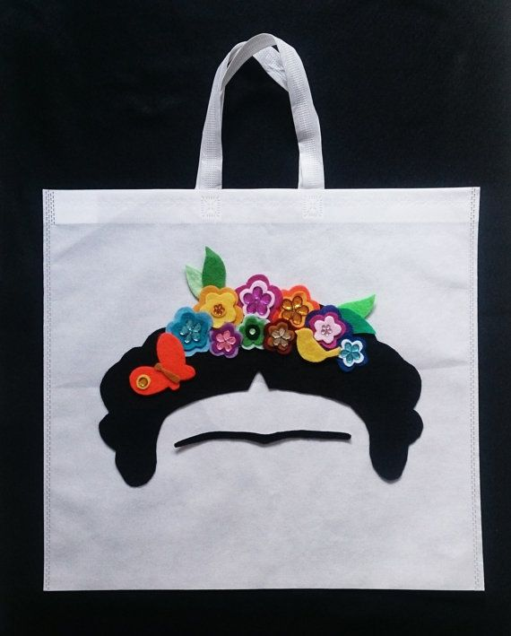 Handbag Frida Kahlo flower crow purse bag Shopping by MXArtsCrafts