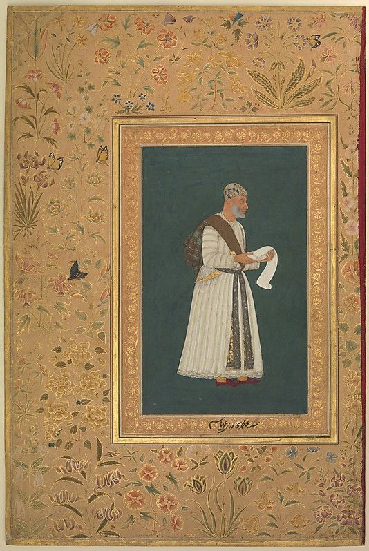 The inscription in Jahangir's hand on the inner border of this painting states that it is a portrait of Mulla Muhammad Bijapuri, probably the emissary sent by Ibrahim 'Adil Shah II to ask for assistance from the Mughals against his rival Malik Ambar of Ahmadnagar