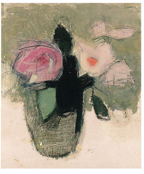 Helene Schjerfbeck, Red Roses in a Glass Bowl, 1944, Oil on canvas, 40,3 x 33,3 cm, Private Collection