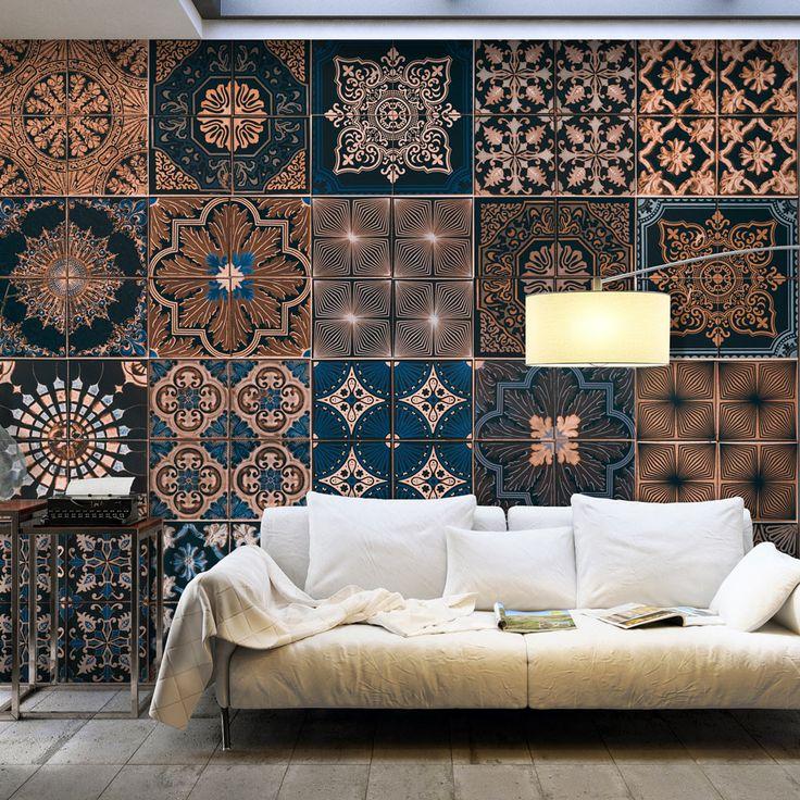 """Papel tapiz """"Mosaico elegante"""" impresión a todo color en alta resolución patrón sofisticado y bonito azul marrón chocolate. Fotomurales bimago: ¡encuéntranos online!"""
