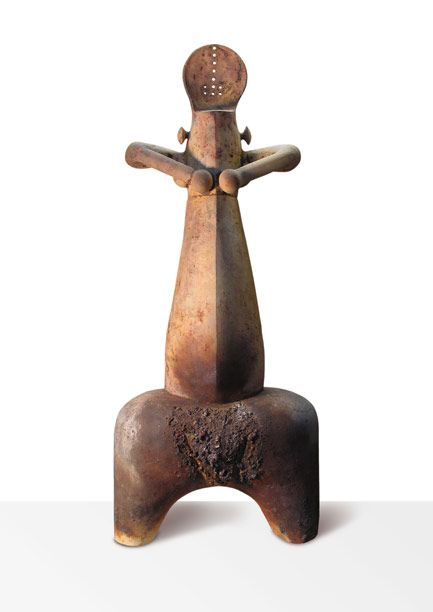 "Stella Zadros, ceramic sculpture- ""Nude"" from The Neolithic Motive series, 2007, 71 x 150 h x 50 cm, www.stellaart.com"