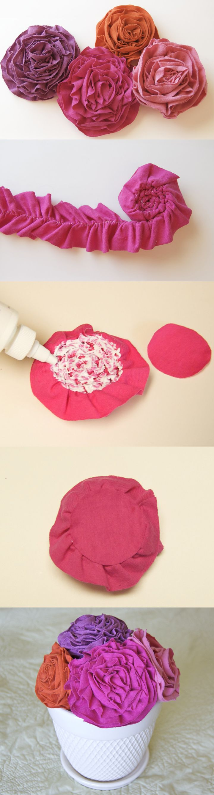 DIY T-shirt Flowers-  love the look of flowers in white pot, can use my solid pastel fabric pcs.