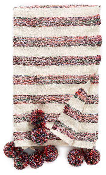 Adore this striped pompom throw! Nordstrom at Home Anika Stripe Throw #affiliate