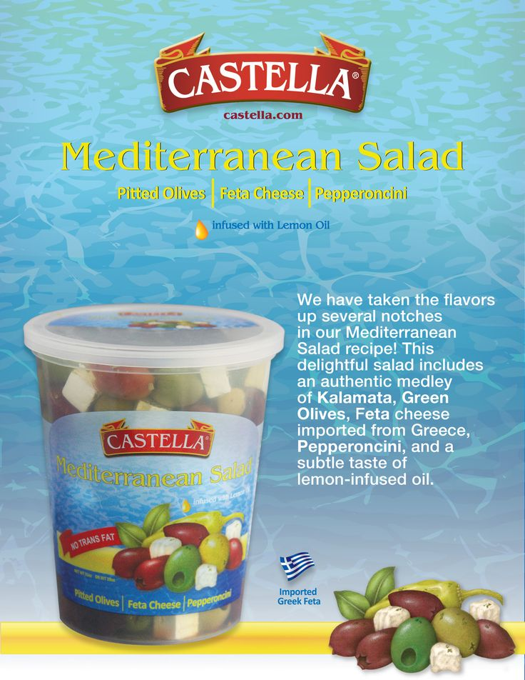 Your favorite salad is back in North East Costco Wholesale stores for a limited time only! Castella's Mediterranean Salad is the perfect blend of authentic pitted Kalamata, pitted green olives, feta cheese and pepperoncini. Make sure to get it before its gone!