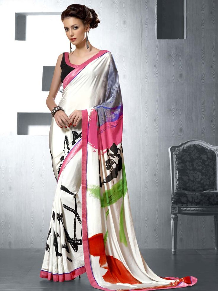 Divergent off white color satin saree is beautified with abstract print and fancy patch border. Item Code: SDHI1851 http://www.bharatplaza.com/new-arrivals/sarees.html