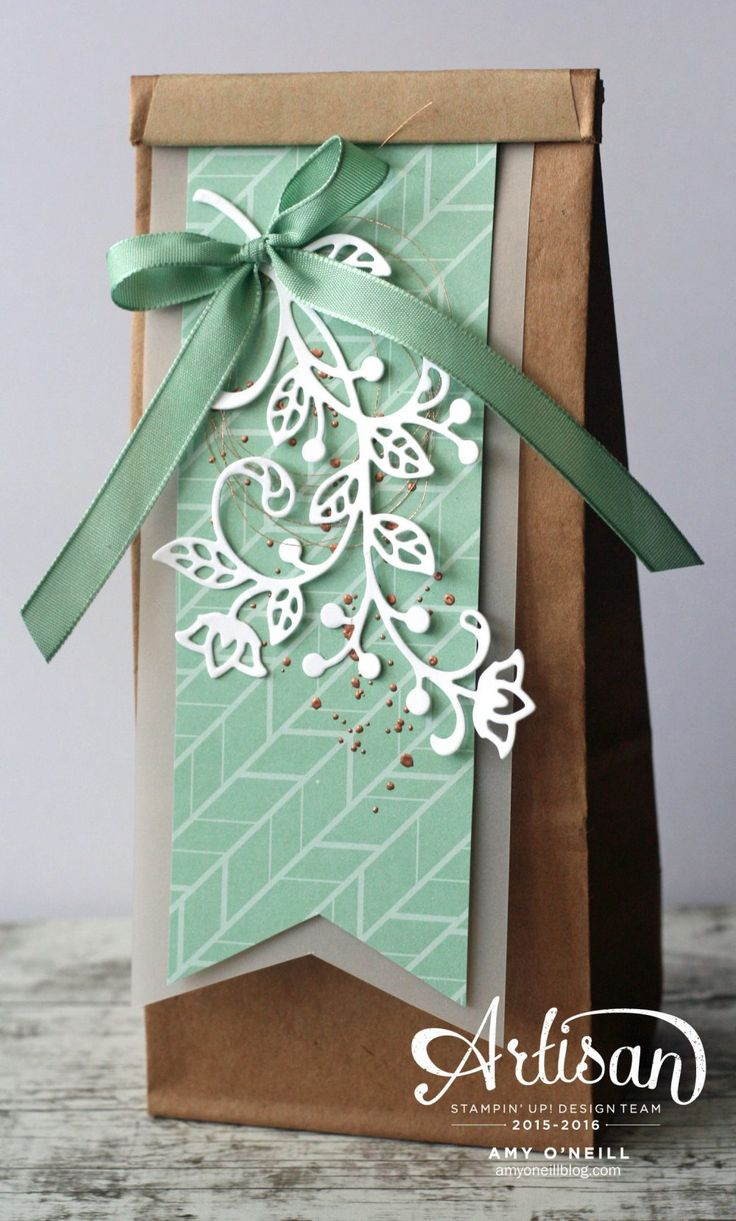 The Flourish Thinlits Dies by Stampin' Up! help to make easy, elegant gift packaging -- by Amy O'Neill