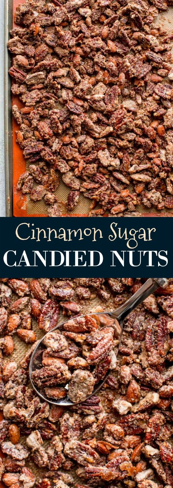 How to make cinnamon sugar candied pecans and candied nuts! Recipe on sallysbakingaddiction.com