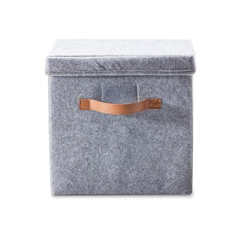 Felt Storage Box with Lid - Pack of 2, Grey   Kmart