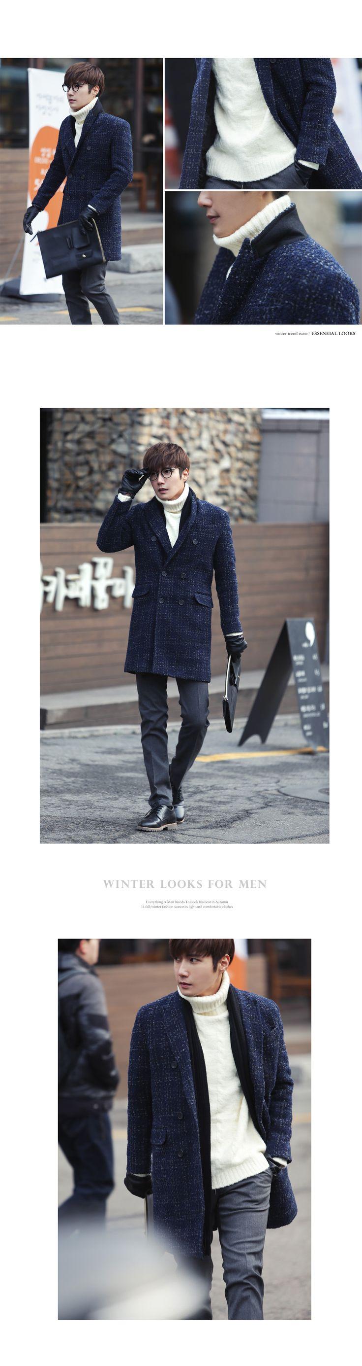 ネイビーカラーツイードダブルコート・全1色アウターコート通販   メンズファッション 通販サイト【ディーホリックメンズ DHOLIC MEN'S】
