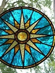 Compass Rose stained glass