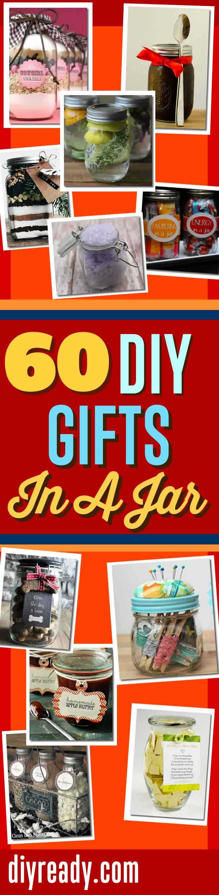 DIY Gifts In A Jar | Mason Jar Gift Ideas and Cool and Easy DIY Gifts http://diyready.com/60-cute-and-easy-diy-gifts-in-a-jar-christmas-gift-ideas/