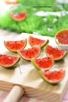 watermelon jello Bites .. Only I think these would be fun just to make like Jello Jigglersfor a kids party in the summer time! So cute.
