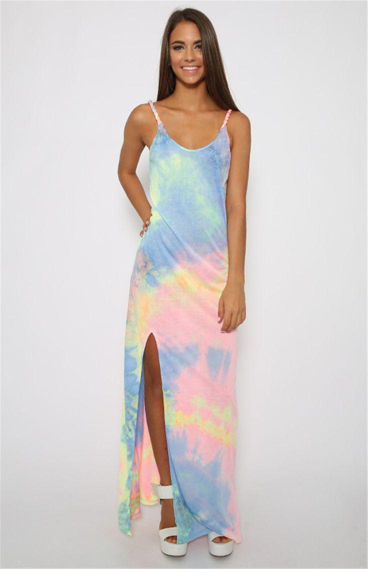 Womens Summer Dresses 2016 Beach Rainbow Print Tie Dye Dress Bohemian Long Dress Maxi Sleeveless Spagetti Strap Dress Vestidos