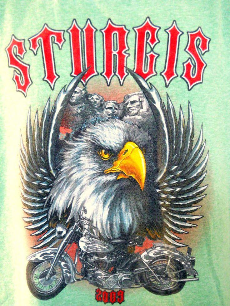 Sturgis Motorcycle Rally Green Tee Shirt LG Mt. Rushmore Eagle S. Dakota 2009  #Hanes #GraphicTee