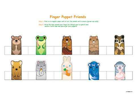 Cute printable finger puppets