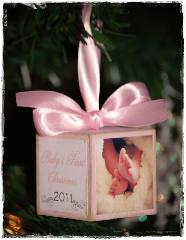 Babys First Christmas Ornament. Modge podge a block. Cute!