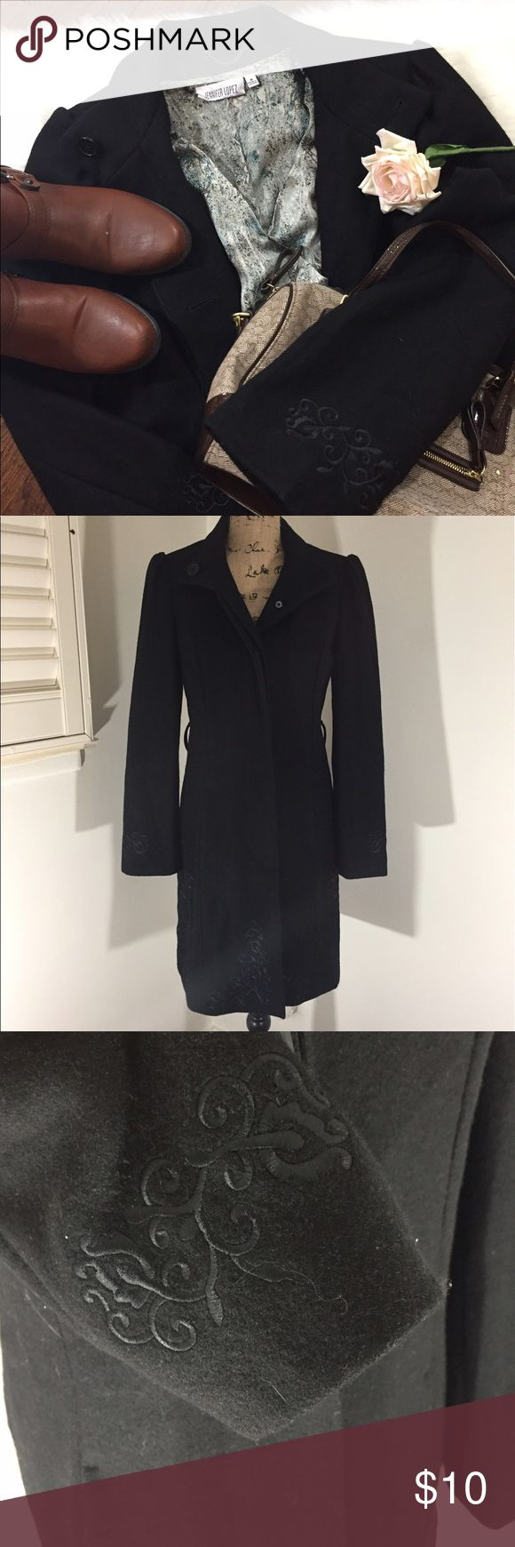 "Merona Black Pea coat Measures 35"" long, size small true to size fitted style. It is missing the (belt hence the price). Buttons down, Beautiful embroidered design on the sleeves and bottom of pea coat, no stains and one of the pockets has a rip on inside. Priced to sell!!!!!! Merona Jackets & Coats Pea Coats"