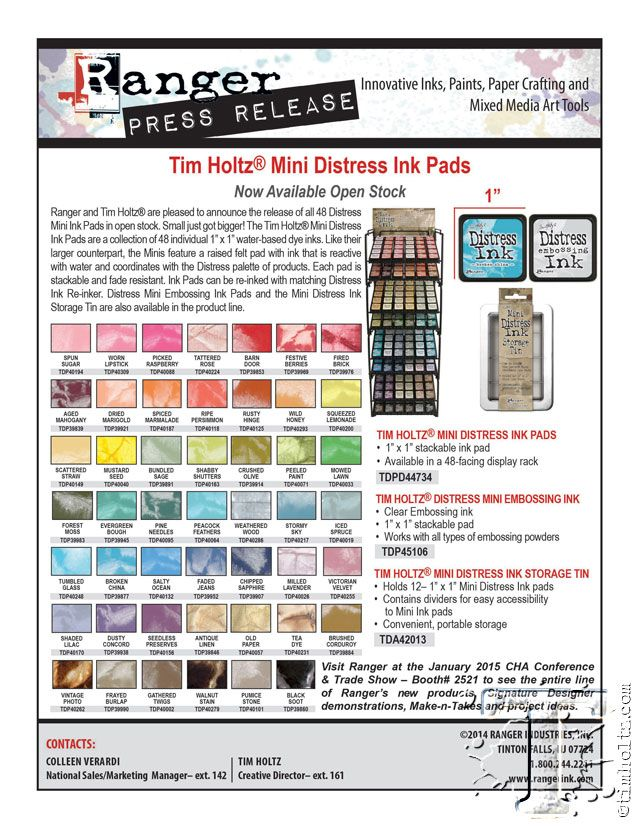mini #distressink in singles! woot woot! so excited for this for #loftartretreat and #classes! @timholtz @rangerink