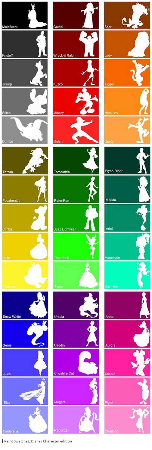 Disney paint swatches.. I disagree with Elsa's- I think it should be more vibrant, but whatevs.