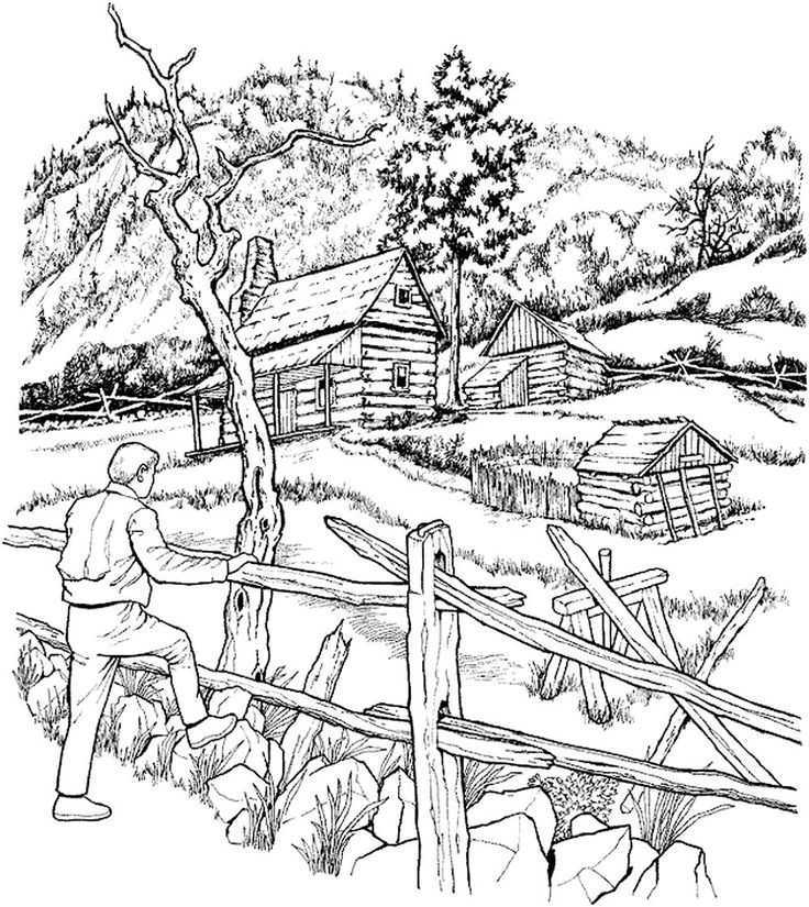 Free coloring page «coloring-adult-snowy-cabins».