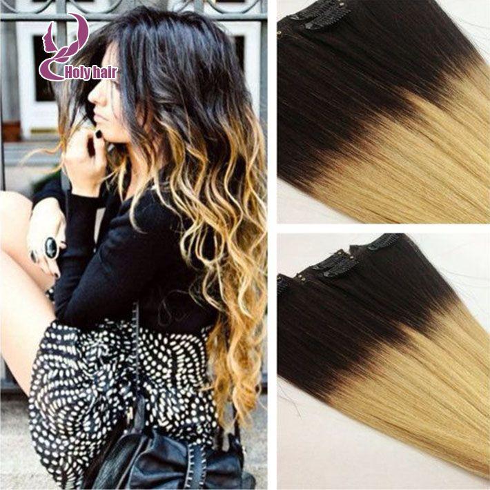 brazilian virgin human hair extensions straight two tone ombre clip in  human hair extensions http://www.aliexpress.com/item/8A-Unprocessed-brazilian-virgin-  ...