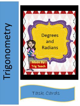 These task cards are great practice for the new learner and a great remediation tool for those that need a little extra help.  1-10 and 21-30 are simple radian to degree and degree to radian conversions.  11-20 and 31-40 use decimal degrees and degrees, minutes, and seconds.