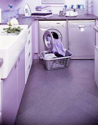 Purple tile in a purple laundry room