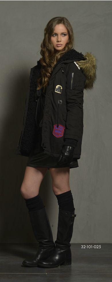 Ladies' cotton jacket with detachable boa fur inside part & fake fur around hood. www.biston.gr