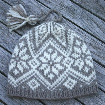 The North Star Hat Knitting Kit, designed by Mary Ann Stephens, knit using Dale of Norway Hegre aran-weight wool yarn, in sizes to fit everyone from youths through extra large adults.  The ultimate Nordic hat!